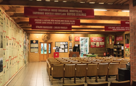Exhibits Information Center museum. Grutas Park. Lithuania Editorial