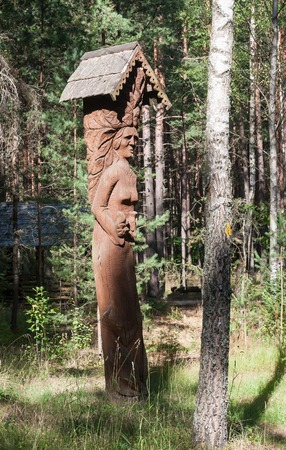 echoes: Wooden sculpture. Museum Forest echoes (Girios aidas). Druskininkai, Lithuania Editorial