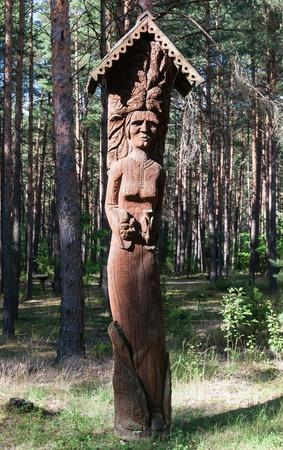 echoes: Wooden sculpture. Museum Forest echoes (Girios aidas). Druskininkai, Lithuania Editorial