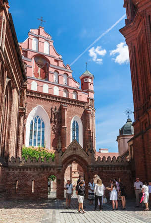 sightseers: Bernardine Catholic church. Vilnius, Lithuania