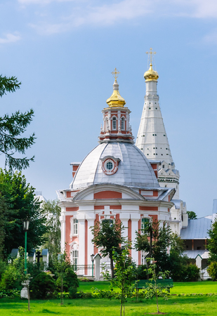 Church of the Smolensk Icon of the Mother of God, a temple in honor of St. Zosima and Savvatiy of Solovki. Holy Trinity St. Sergius Lavra. Sergiev Posad, Moscow region