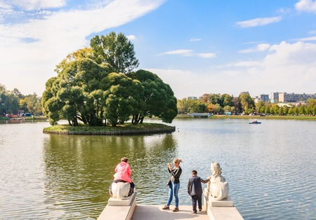 the tsaritsyno: Round Island on the upper pond in the park  Tsaritsyno. Moscow Editorial