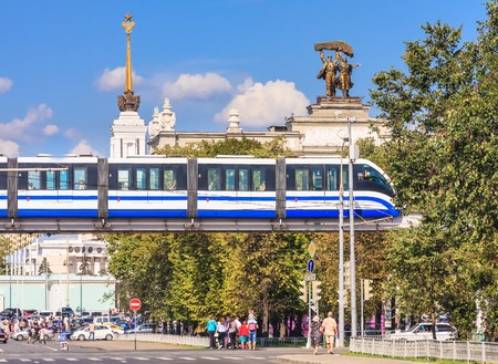 enea: Monorail train on a background of the main entrance of ENEA (OCE), Moscow Editorial