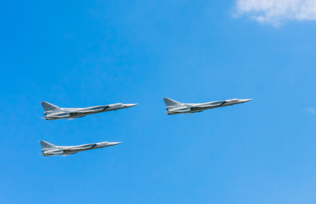 3 Tupolev Tu-22M3 (Backfire) supersonic swing-wing long-range strategic and maritime strike bombers fly on rehearsal of parade devoted to Victory Day aniversary on May 9, 2016 in Moscow