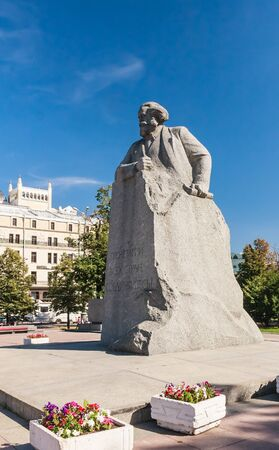 A monument to Karl Marx on Teatralnaya Square. Moscow.