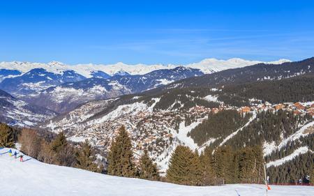 valley view: Valley view of Meribel. Meribel Village Center (1450 m). France Stock Photo