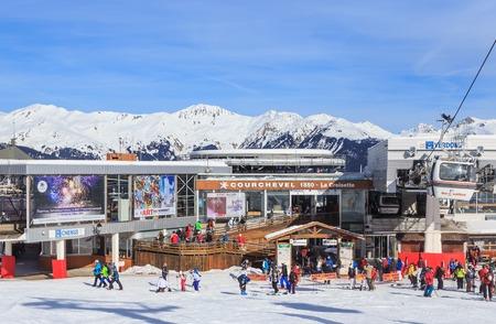 station ski: COURCHEVEL, FRANCE - JAN 26, 2016: Lower Verdons  lift station.  Ski Resort Courchevel 1850 m in wintertime. France
