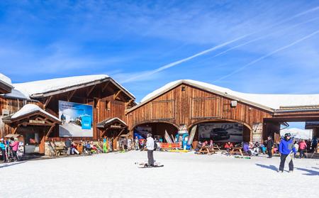 station ski: COURCHEVEL, FRANCE - JAN 26, 2016: Top Verdons  lift station.  Ski Resort Courchevel 1850 m in wintertime. France