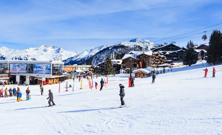 france station: Lower Jardin Alpin  lift station. Ski Resort Courchevel 1850 m in wintertime. FranceSki Resort Courchevel 1850 m in wintertime. France