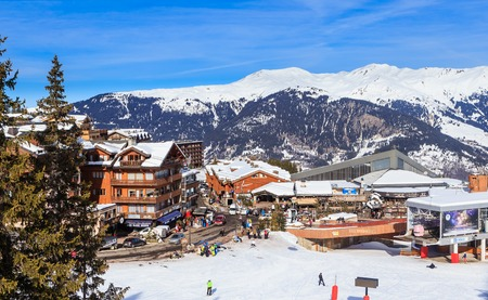 station ski: Lower Chenus  lift station. Ski Resort Courchevel 1850 m in wintertime. France