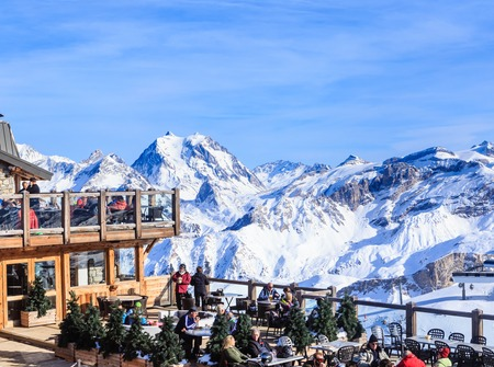 Restaurant in the mountains.Ski Resort Courchevel  in wintertime. France