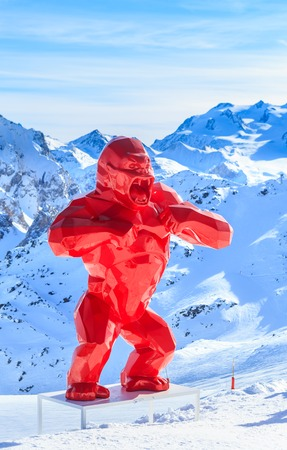 richard: King Kong sculpture sculptor Richard Orlinski about Saulire cable car. Ski Resort Courchevel