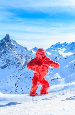 king kong: King Kong sculpture sculptor Richard Orlinski about Saulire cable car. Ski Resort Courchevel