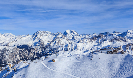 View of snow covered Courchevel slope in French Alps. Ski Resort Courchevel Stock Photo