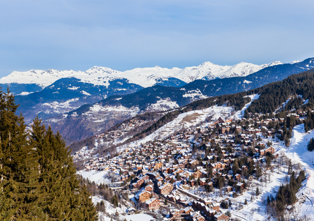 Valley view of Meribel. Meribel Village Center (1450 m). France Stock Photo