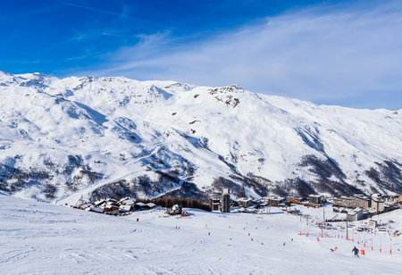 val: Valley view of Val Thorens. Village of Les Menuires. France Stock Photo