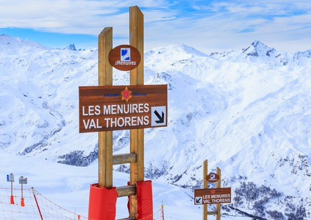 valley view: Valley view of Val Thorens. France Stock Photo