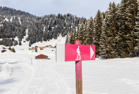 steep cliff sign: Pointer hiking trails  Ski resort Laax. Switzerland