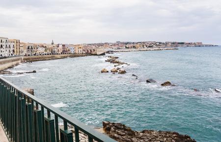 Embankment in Syracuse, Sicily. Italy Stock Photo