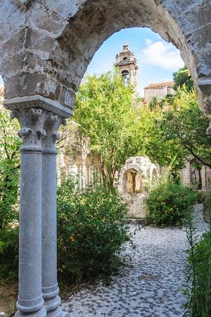 The cloister of the arab-norman church San Giovanni degli Eremiti in Palermo. Sicily. Italy.