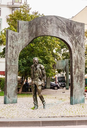 Monument to Bulat Okudzhava, the soviet poet and singer, at Arbat street Stock Photo
