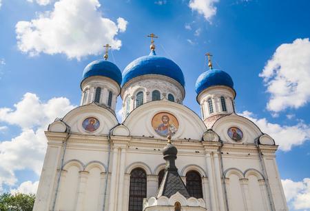 Facade of St. Nicholas Church in the village of Rogachevo, Dmitrov district, Moscow region Stock Photo