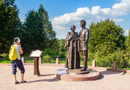 A tourist near the Monument to Alexander Blok and Lyubov Mendeleev. SeloTarakanovo. Solnechnogorsk district. Moscow region