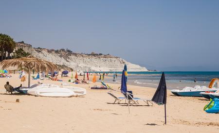 dei: Beach nearby the white cliff called Scala dei Turchi in Sicily, near Agrigento. Italy