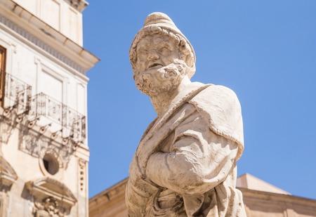 Statue renaissance of  Fontana Pretoria on Piazza Pretoria. Work of the Florentine sculptor Francesco Camilliani. Palermo.  Sicily.  Italy. Editorial