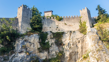 woll: The woll of Guaita fortress is the oldest and the most famous tower on San Marino. Italy.