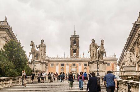senators: Tourists go up the stairs to the Palazzo Senators. Rome, Italy