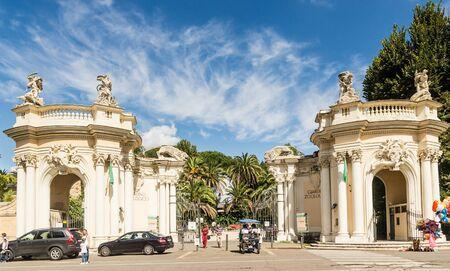 Entrance to Bioparco zoo at Villa Borghese (18 century). Rome. Italy Editorial