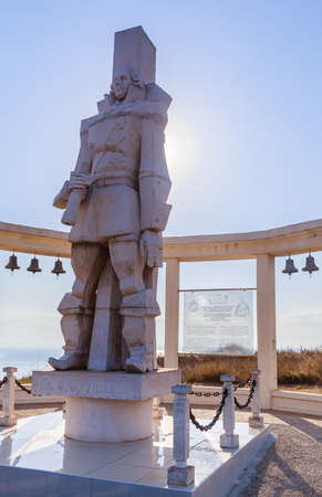 A memorial sculpture of the Russian Admiral F.F. Ushakov on Cape Kaliakra in memory of The Battle of Cape Kaliakra, Bulgaria, in the Black Sea.