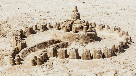 Castle from sand made by children on the beach