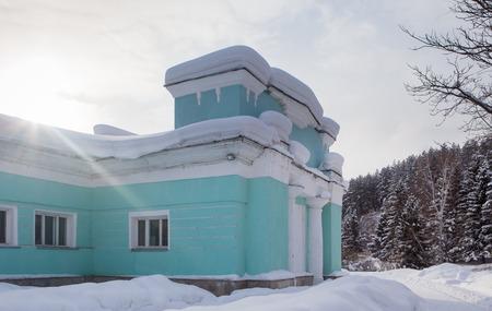 Fragment old hydropathic clinic. Resort Belokurikha. Altai, Russia Editorial