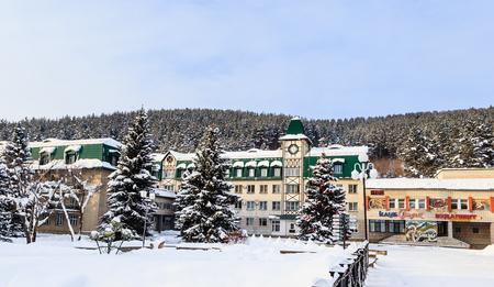 The building of the sanatorium Altai-West.  Resort Belokurikha. Altai, Russia