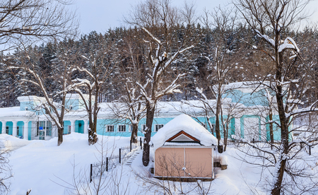 Building of the former hydropathic institution. Pumping station. Resort Belokurikha. Altai, Russia