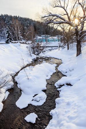 Building of the former hydropathic institution. Belokurikha rive. Resort Belokurikha. Altai, Russia