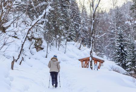 Woman get Nordic walking.   Resort Belokurikha. Altai, Russia