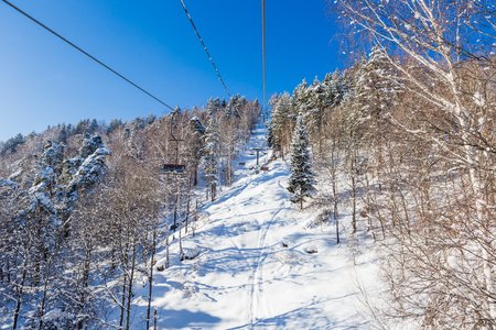 Ropeway to mountain Tserkovka in  the resort of Belokurikha, Altai, Russia Stock Photo