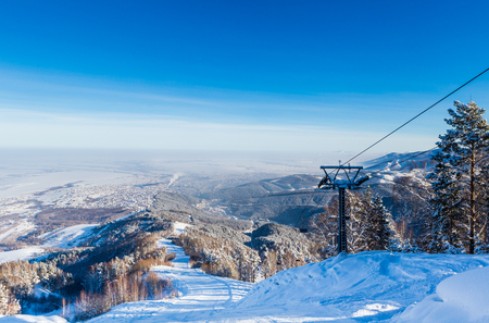 The ski slope on Tserkovka mountain in the city the resort of Belokurikha, Altai, Russia  Stock Photo