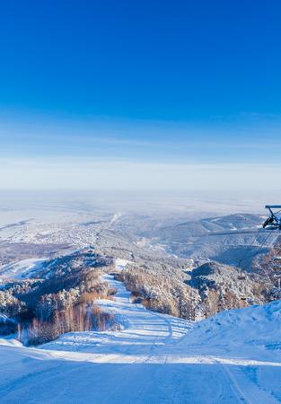 The ski slope on Tserkovka mountain in the city the resort of Belokurikha, Altai, Russia