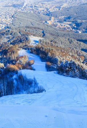 The ski slope on Tserkovka mountain in the city the resort of Belokurikha, Altai, Russia  Stock Photo