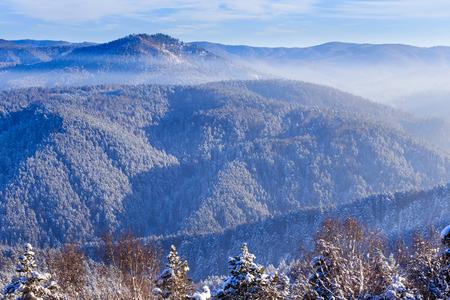 View from Tserkovka mountain �n the Altai Mountains in winter.  Resort Belokurikha, Altai, Russia