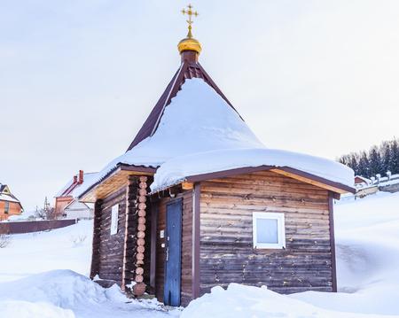 Bath on the Eye source at the church of St. Panteleimon the Healer, Belokurikha, Altai, Russia