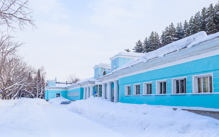 Fragment of the building of the former hydropathic institution. Resort Belokurikha. Altai, Russia Editorial
