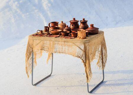 Tableware and souvenirs. Street sale?. Resort Belokurikha, Altai. Russia Stock Photo