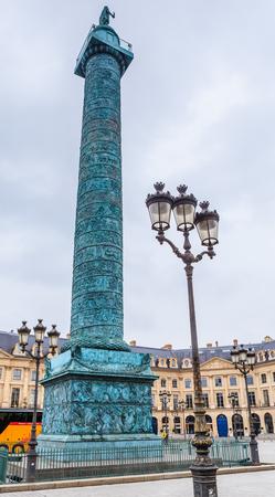 Vendome column with statue of Napoleon Bonaparte, on the Place Vendome, Paris, France Stock Photo