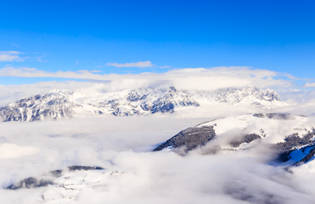 Mountains with snow in winter. Ski resort  Soll, Tyrol, Austria Reklamní fotografie