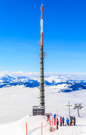the firmament: Tower fot mobile phone on the top of the mountain Hohe Salve. Ski resort  Soll, Tyrol, Austria